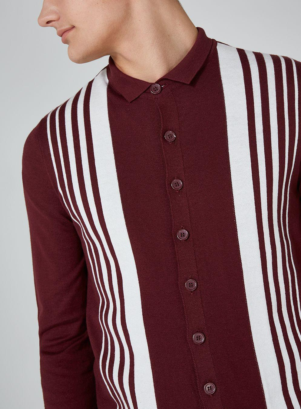 2e86c69af TOPMAN Burgundy Button Down Knitted Polo in Red for Men - Lyst