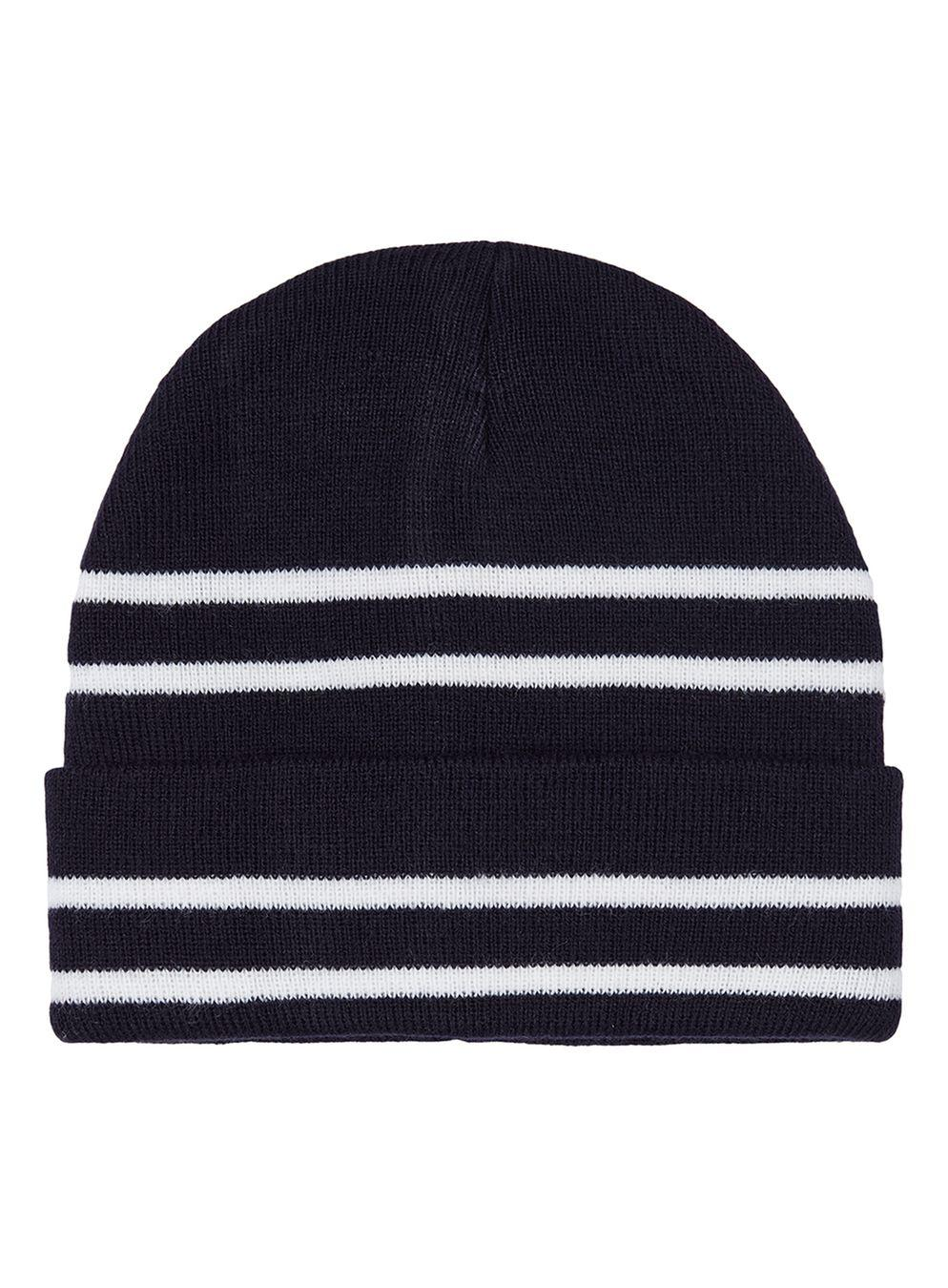 7371712def1 Topman Navy And White Stripe Beanie in Black for Men - Lyst