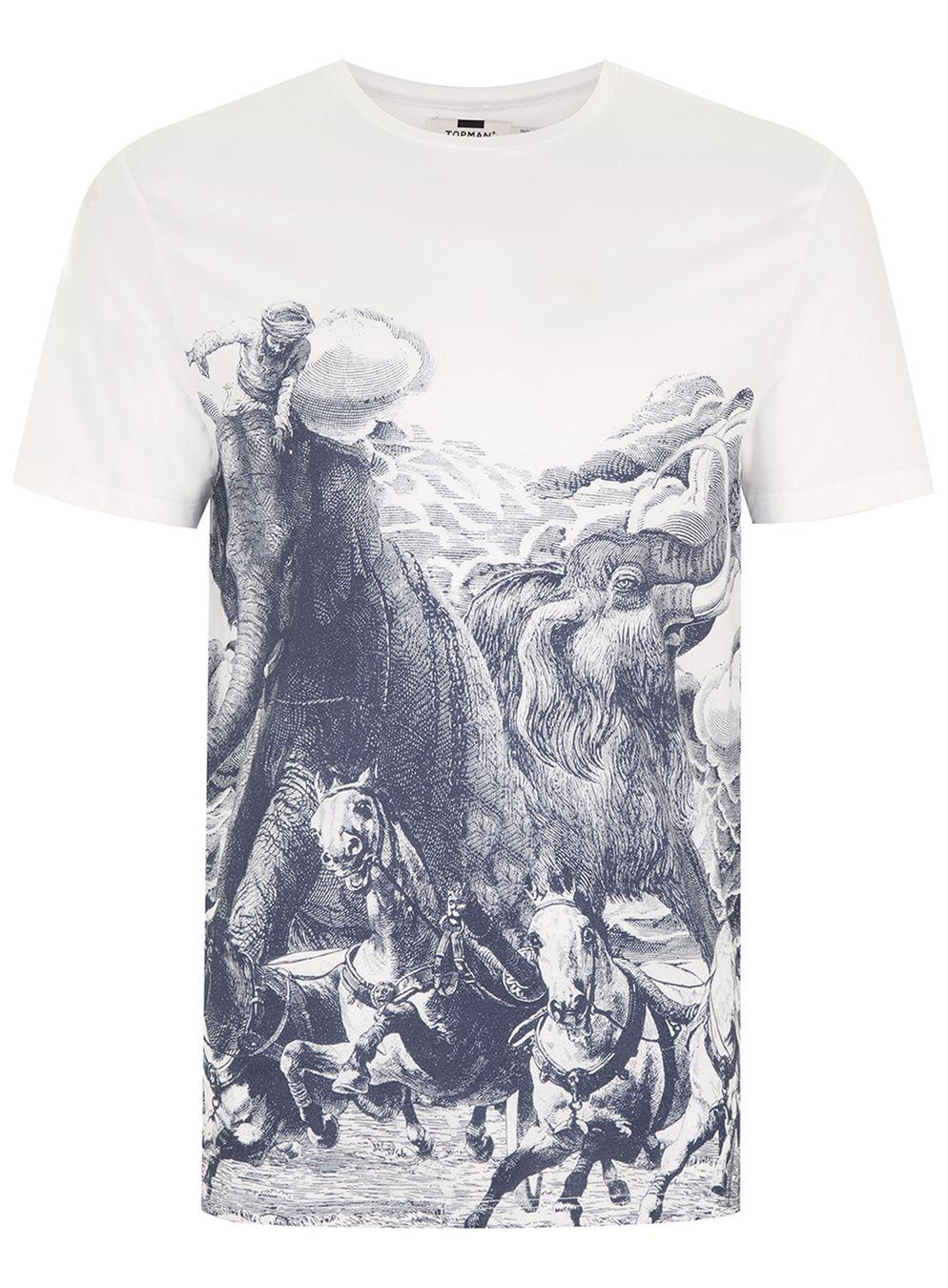d7b1ed4869017 Lyst - Topman White Elephant Print T-shirt in White for Men