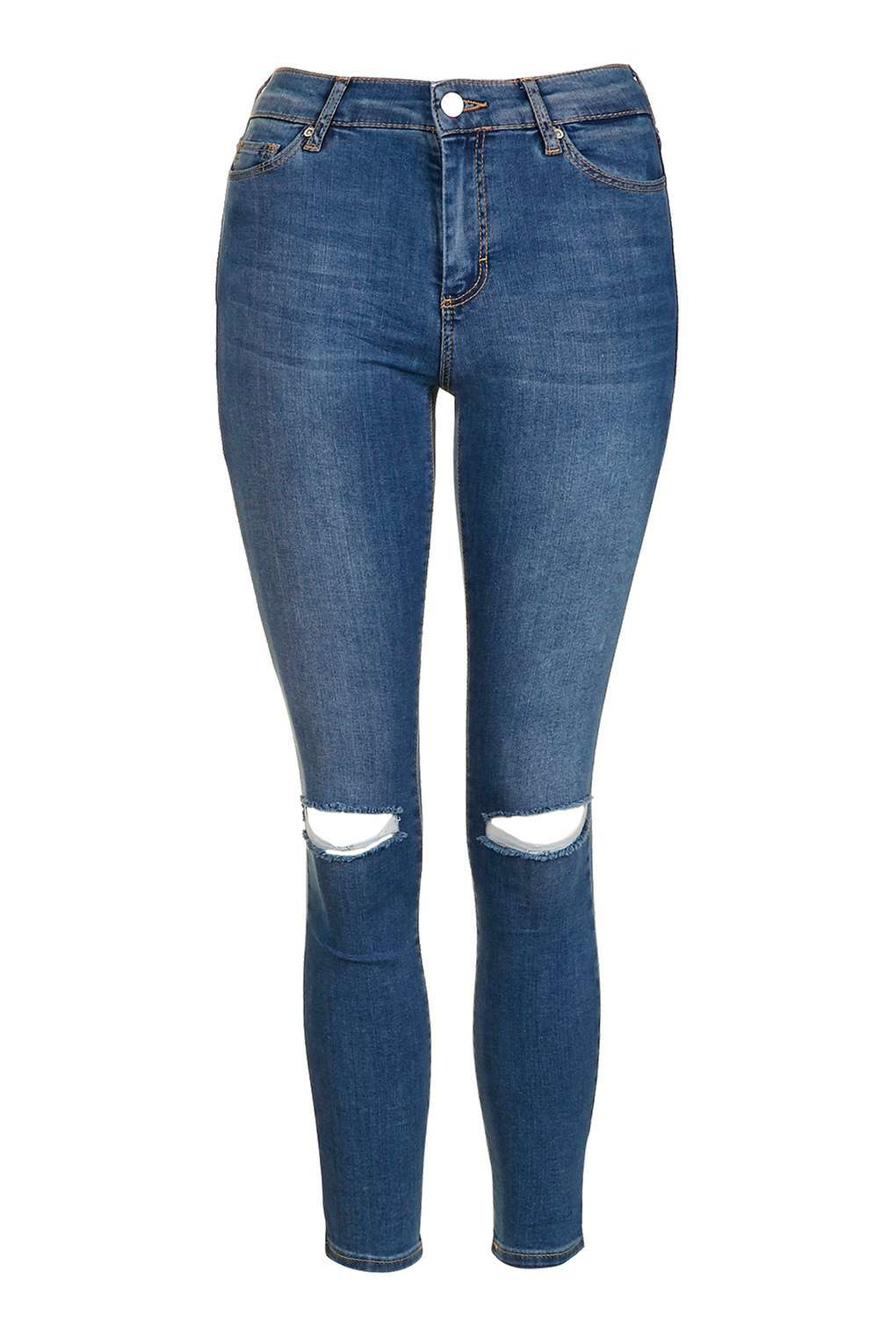 Topshop Moto Blue Ripped Leigh Jeans in Blue | Lyst