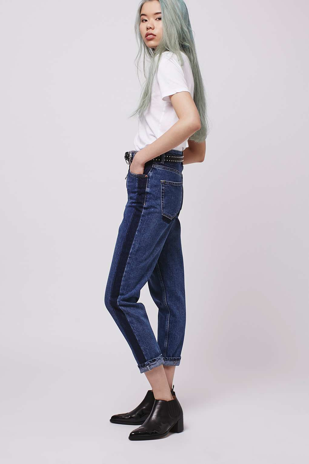 Topshop Moto Side Stripe Mom Jeans In Blue Lyst