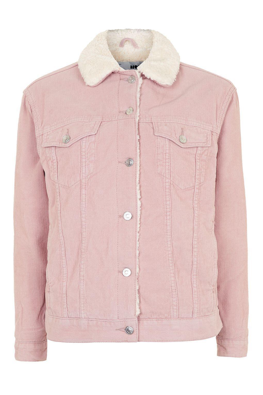 Lyst Topshop Moto Corduroy Borg Oversized Jacket In Pink