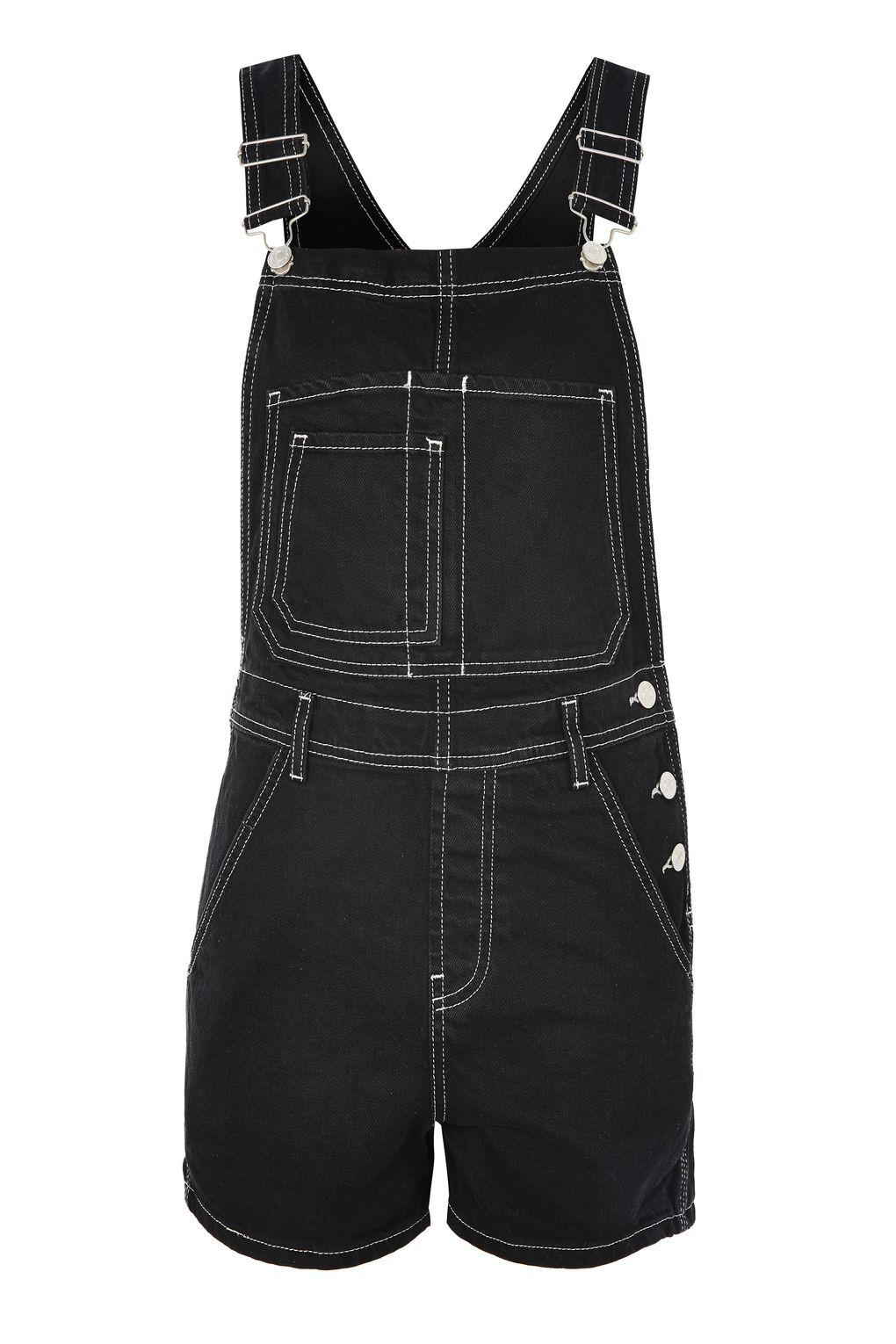 Topshop moto contrast stitch short dungarees in black lyst for Womens denim shirts topshop