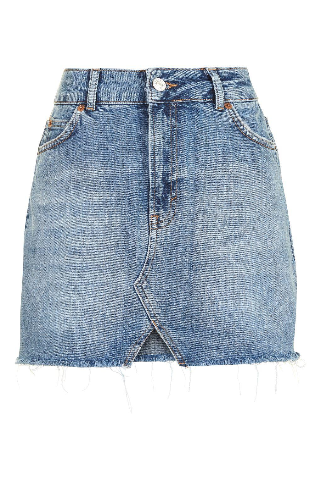 topshop moto cut out mini denim skirt in blue lyst