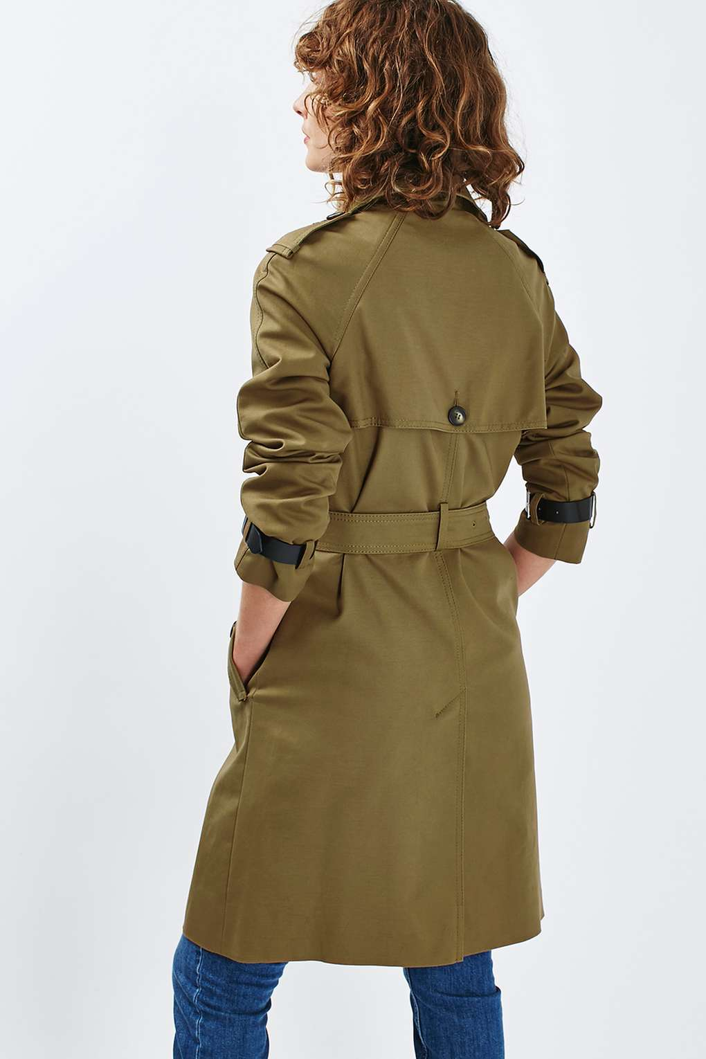 Topshop Military Trench Coat In Blue Lyst