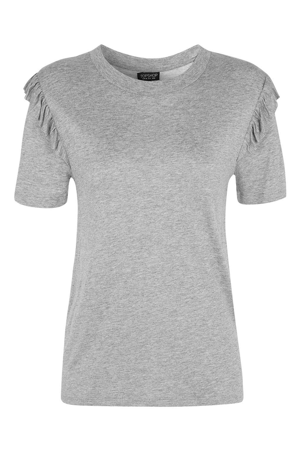 Lyst topshop petite frill sleeve t shirt in gray for Frill sleeve t shirt