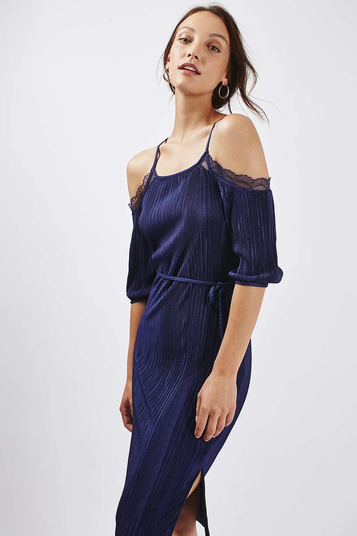 Lyst Topshop Plisse Lace Cold Shoulder Dress In Blue