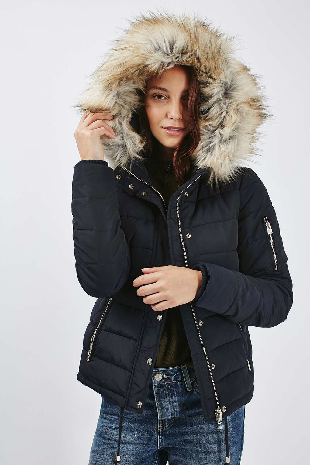 Lyst Topshop Quilted Puffer Jacket In Blue