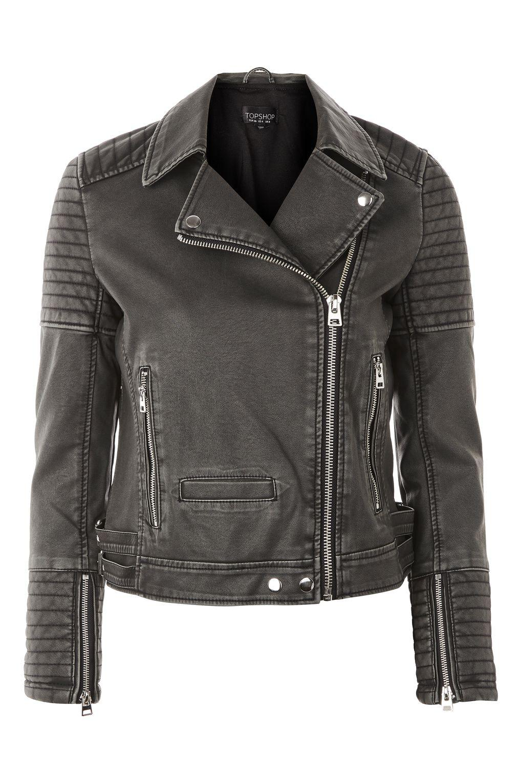 womens leather biker jacket topshop