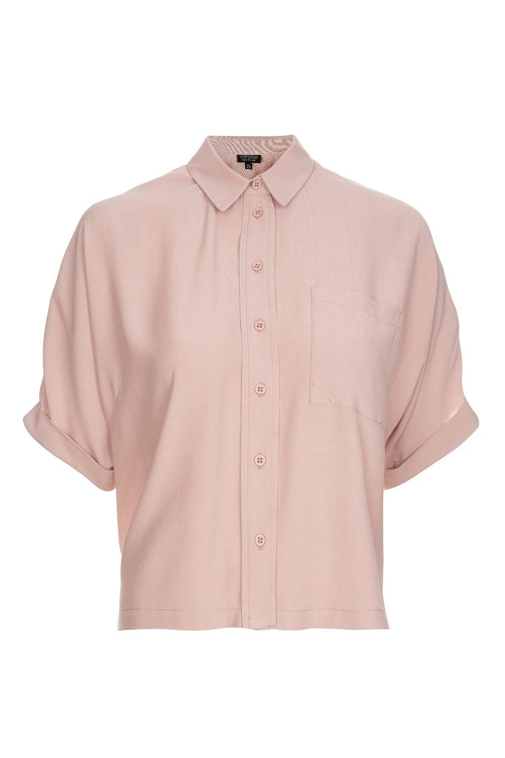 Topshop Dusty Pink Short Sleeve Roll Up Shirt In Pink Lyst