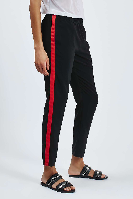 Topshop Side Stripe Jogger In Black Lyst