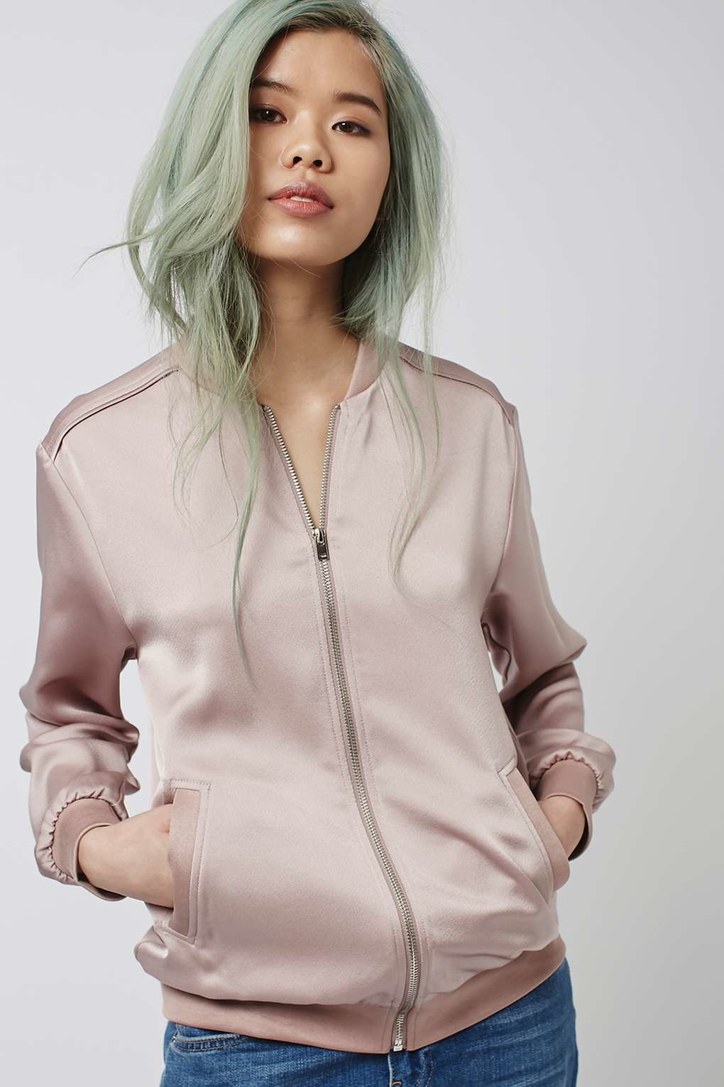 Topshop Satin Bomber Jacket in Pink | Lyst