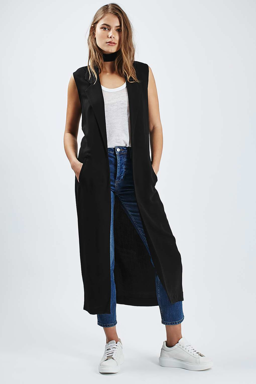 Lyst Topshop Sleeveless Duster Coat In Black