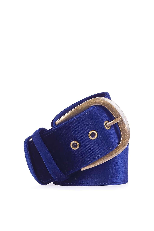 topshop wide velvet belt in blue lyst