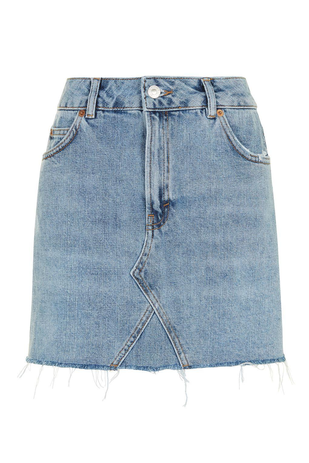 24bdf050fa TOPSHOP Moto Mini Denim Skirt in Blue - Lyst