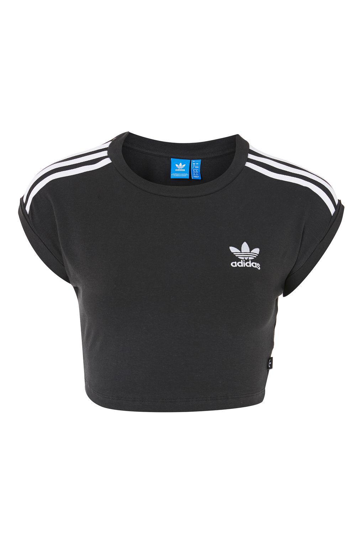 59ee63c8f6d6 Lyst - TOPSHOP 3 Stripe Crop Top By Adidas Originals in Black