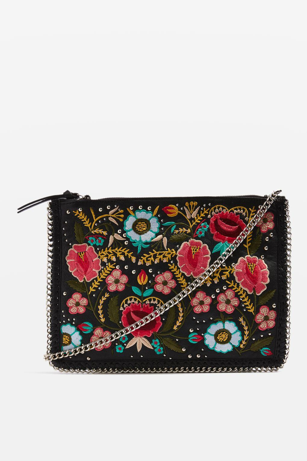 Lyst - Topshop Ava Floral Embroidered Cross Body Bag In Black
