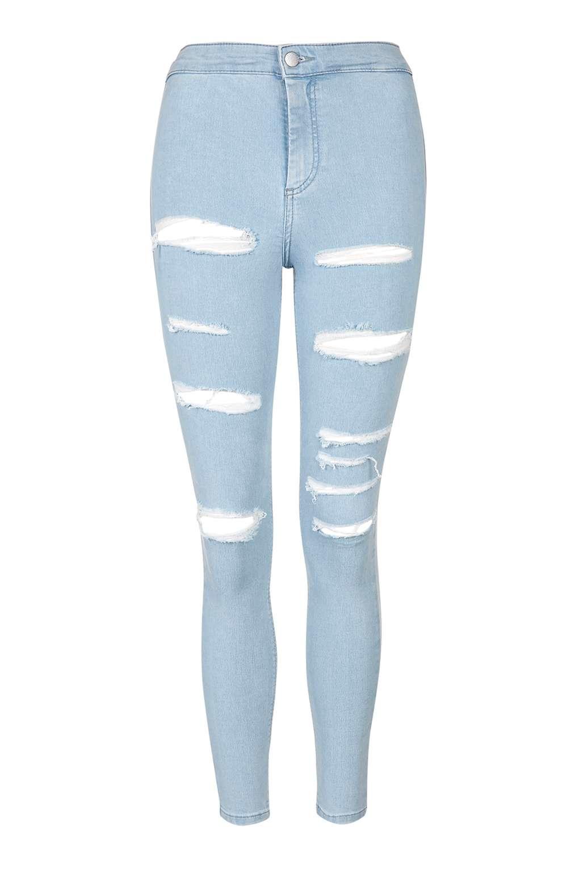 topshop petite super rip joni jeans in blue bleach stone. Black Bedroom Furniture Sets. Home Design Ideas