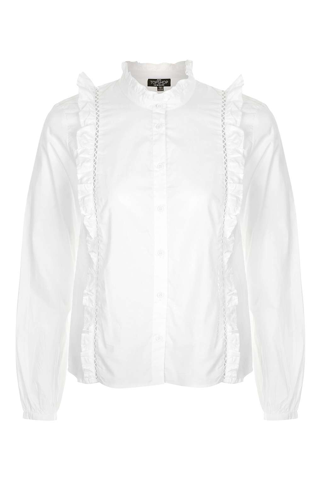 Lyst topshop petite ruffle blouse in white for Womens denim shirts topshop
