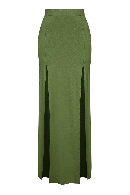topshop split maxi skirt in green khaki lyst