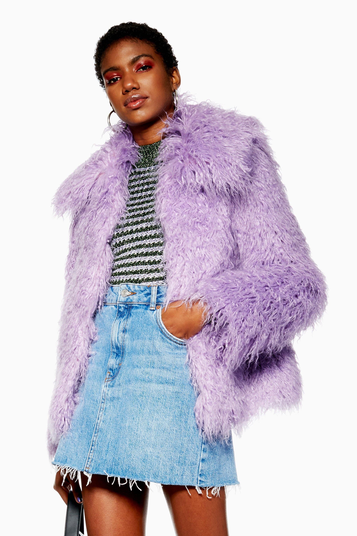 klar in Sicht am besten authentisch näher an TOPSHOP Purple Fliederfarbener Mantel aus mongolischem Webpelz
