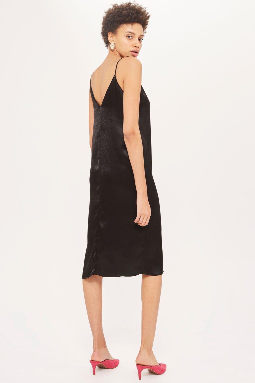 37e9759845b TOPSHOP Satin Midi Slip Dress in Black - Lyst