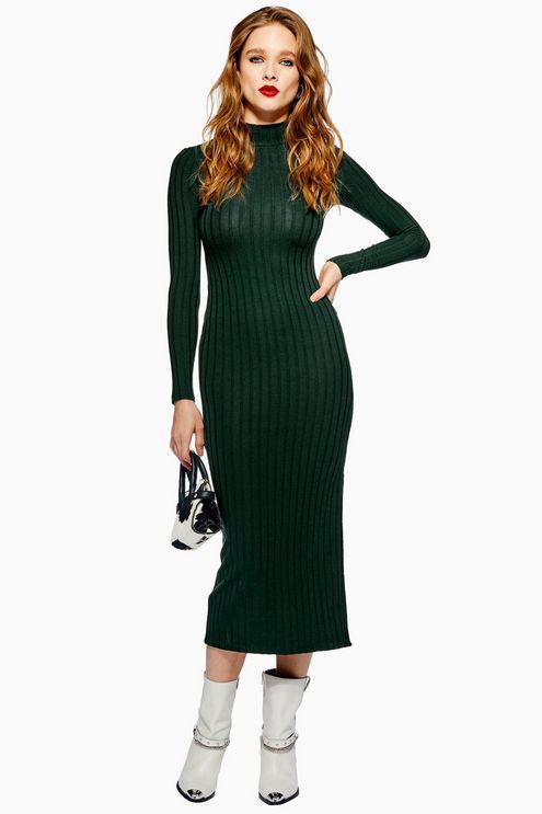 a9dda0748919 TOPSHOP Green High Neck Ribbed Midi Dress in Green - Lyst