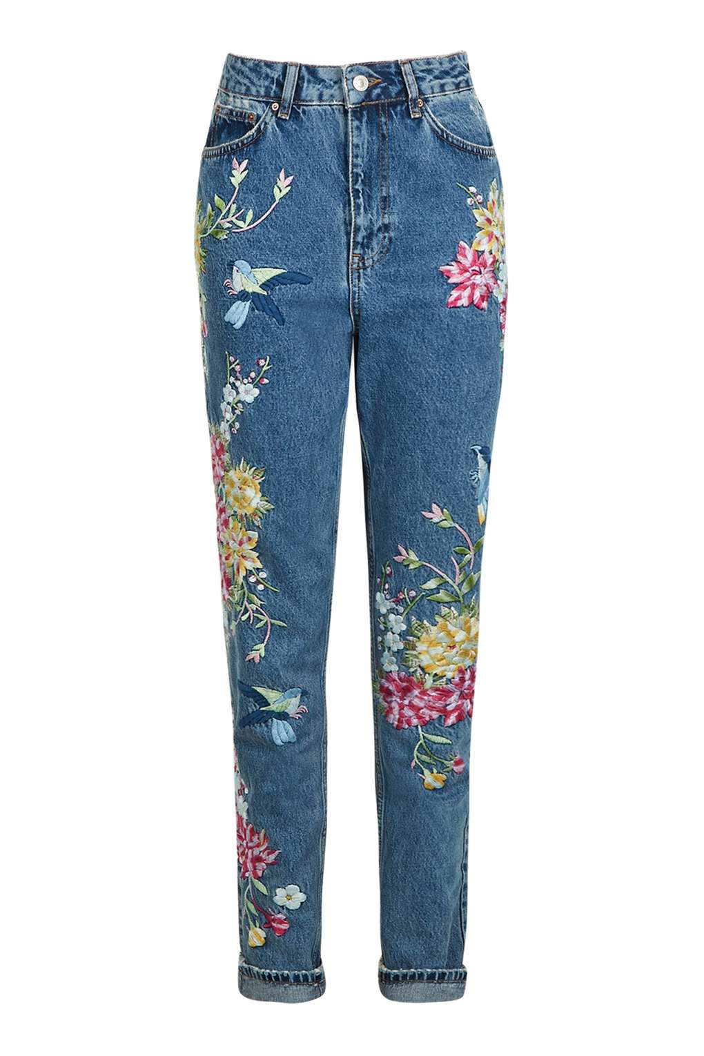 Topshop Tall Garden Embroidered Mom Jeans In Blue  Lyst