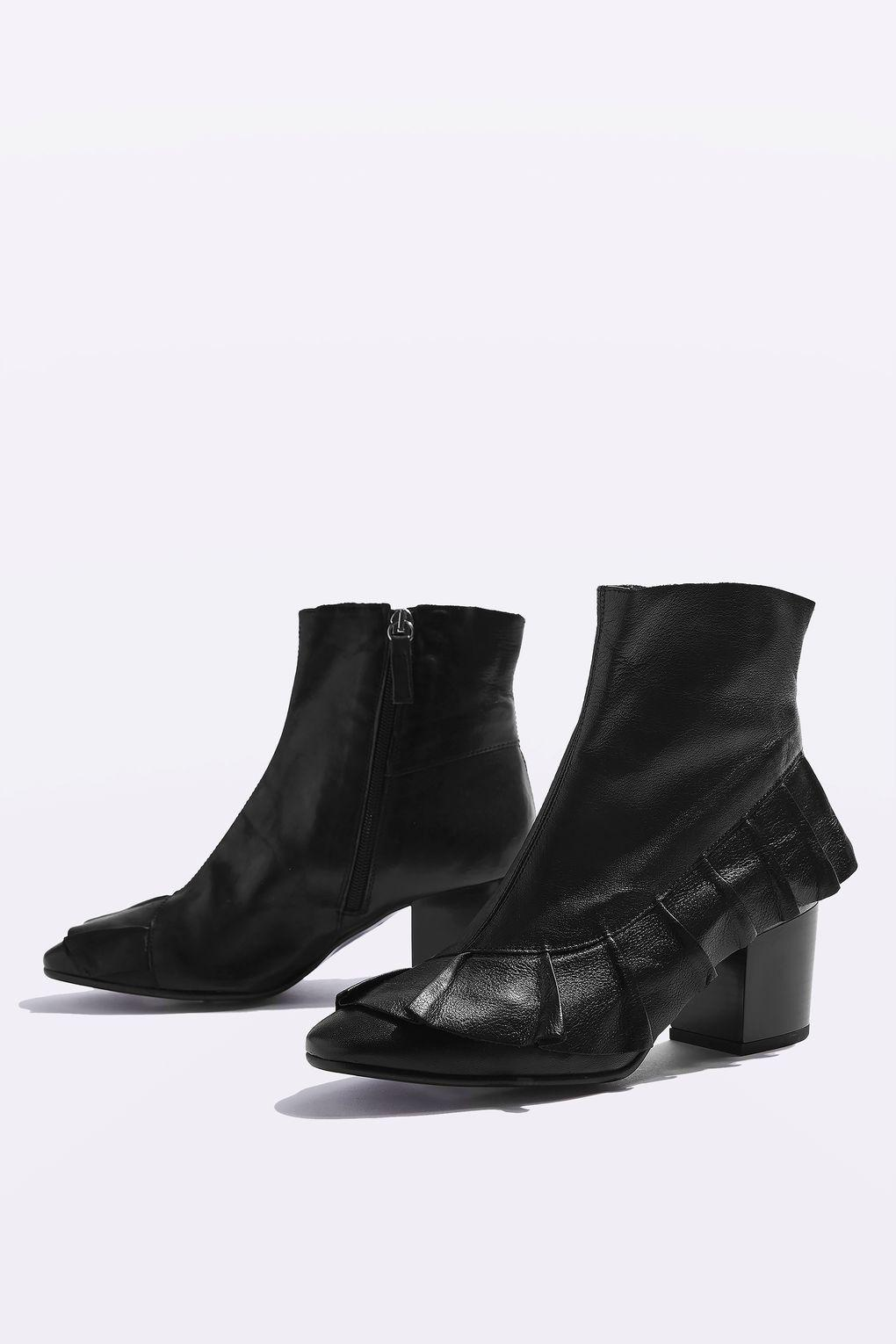 topshop milly frill ankle boots in black lyst