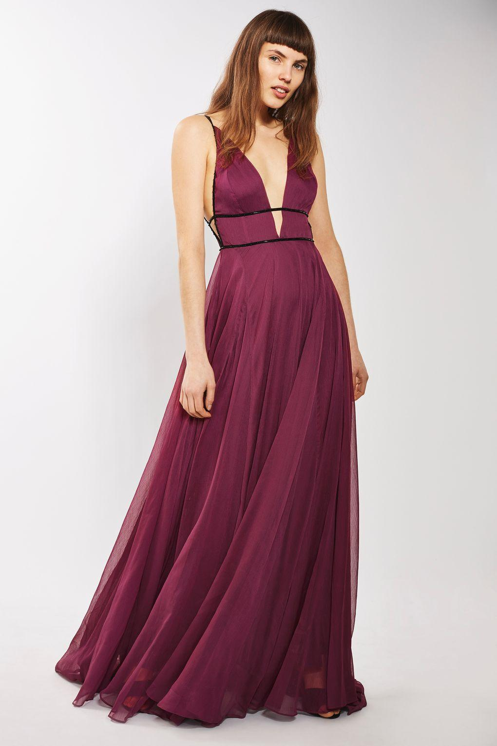 Topshop Chiffon Beaded Maxi Dress In Purple Lyst