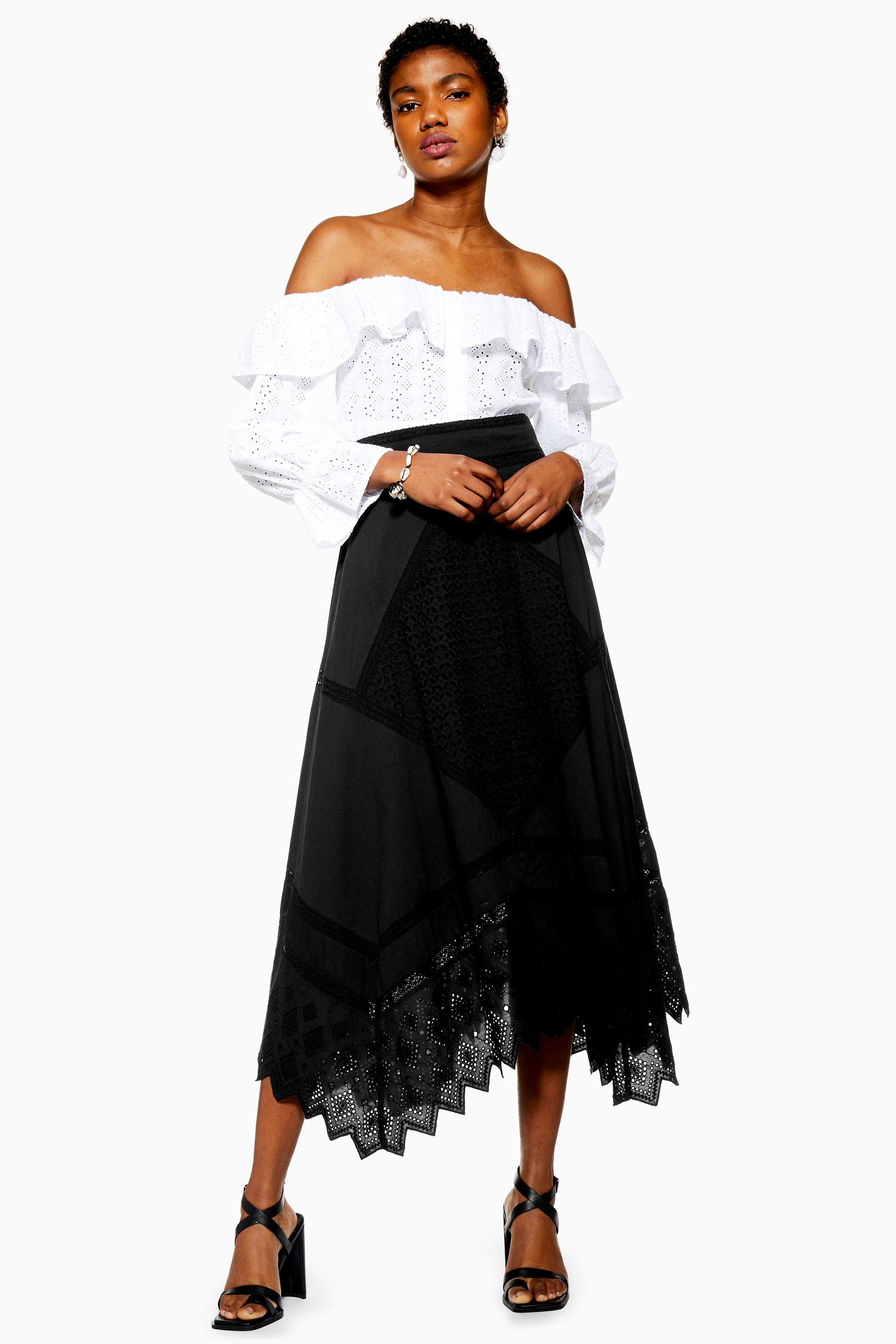 75db387ef70f5a Lyst - TOPSHOP Mixed Broderie Midi Skirt in Black