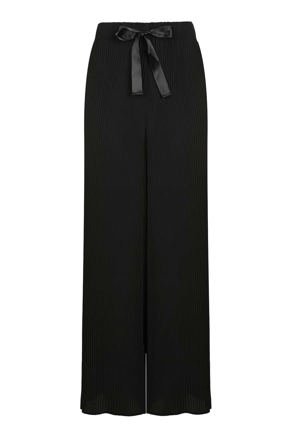 topshop ribbon drawstring plisse trousers in black lyst. Black Bedroom Furniture Sets. Home Design Ideas