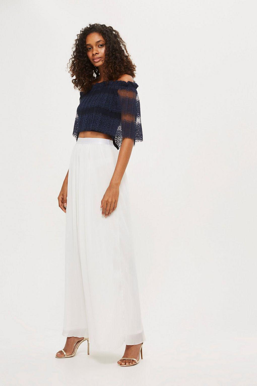 ce38887487 Tfnc London Ariel Pleat Maxi Skirt By in White - Lyst