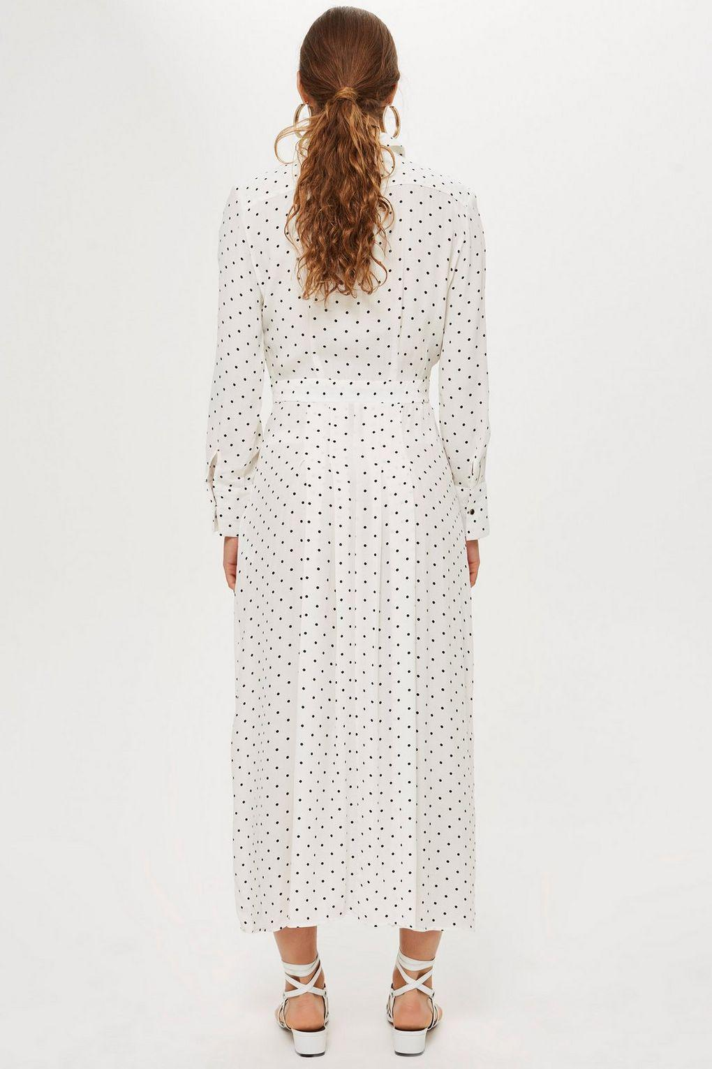 d60ad179160 TOPSHOP Pleated Spot Shirt Dress in White - Lyst