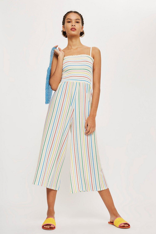 7ee1df771c4 TOPSHOP Rainbow Striped Jumpsuit in Blue - Lyst