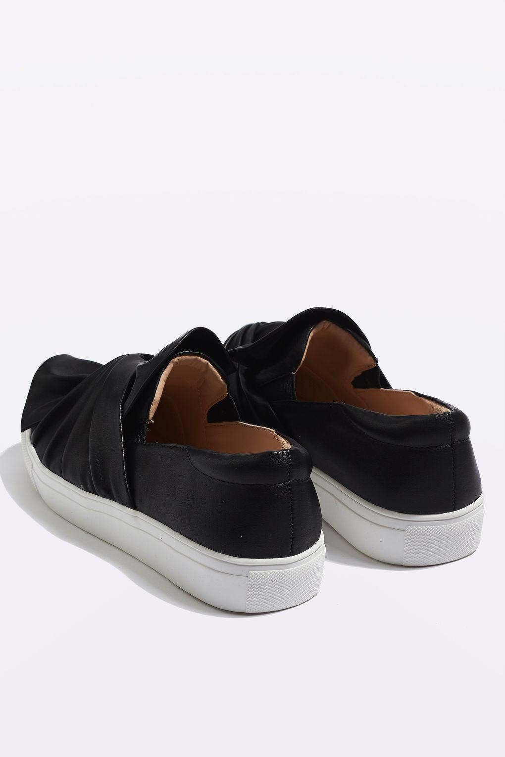 topshop twisted slip on trainers in black lyst
