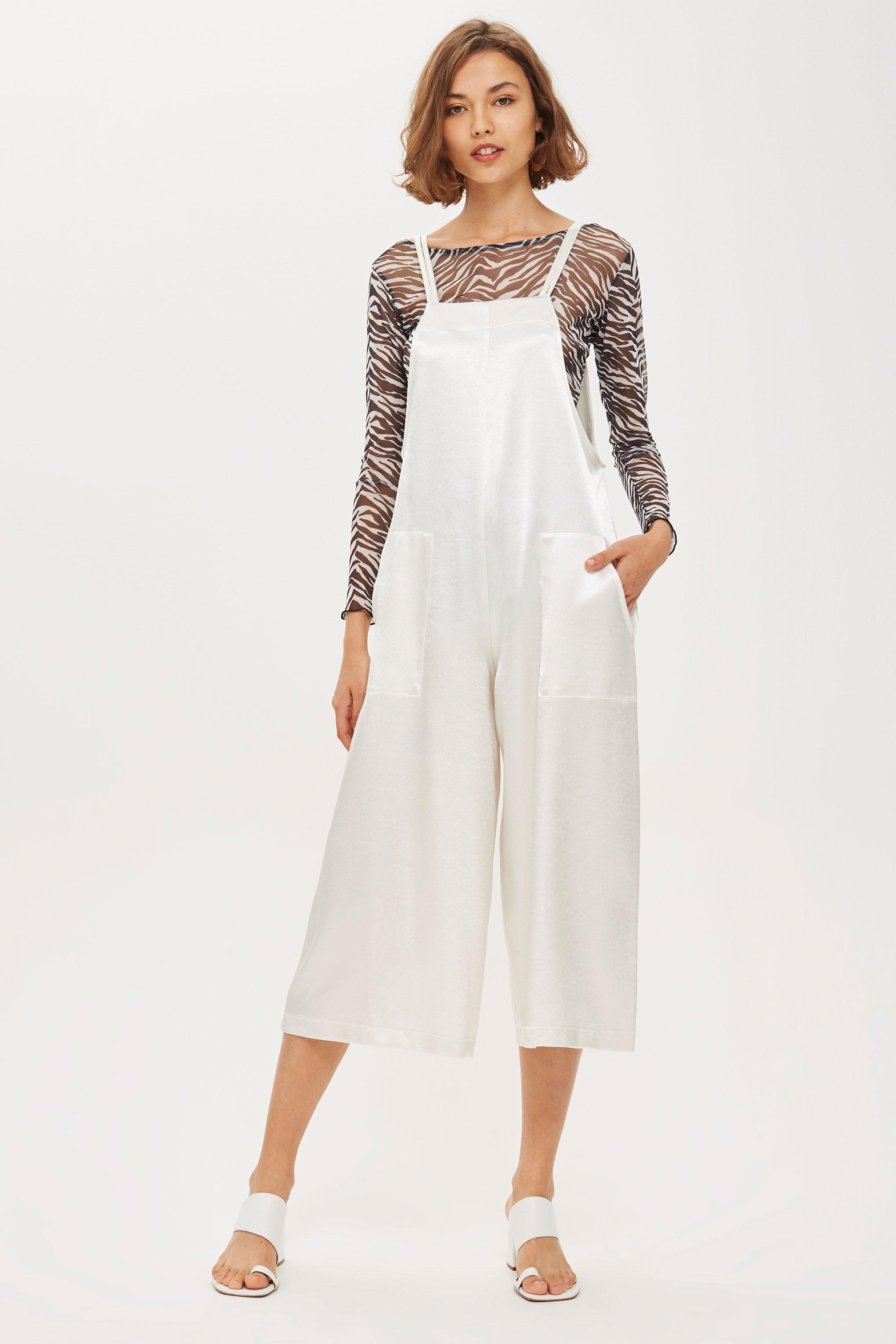 3ef6b405624 Lyst - TOPSHOP Satin Strappy Jumpsuit in White