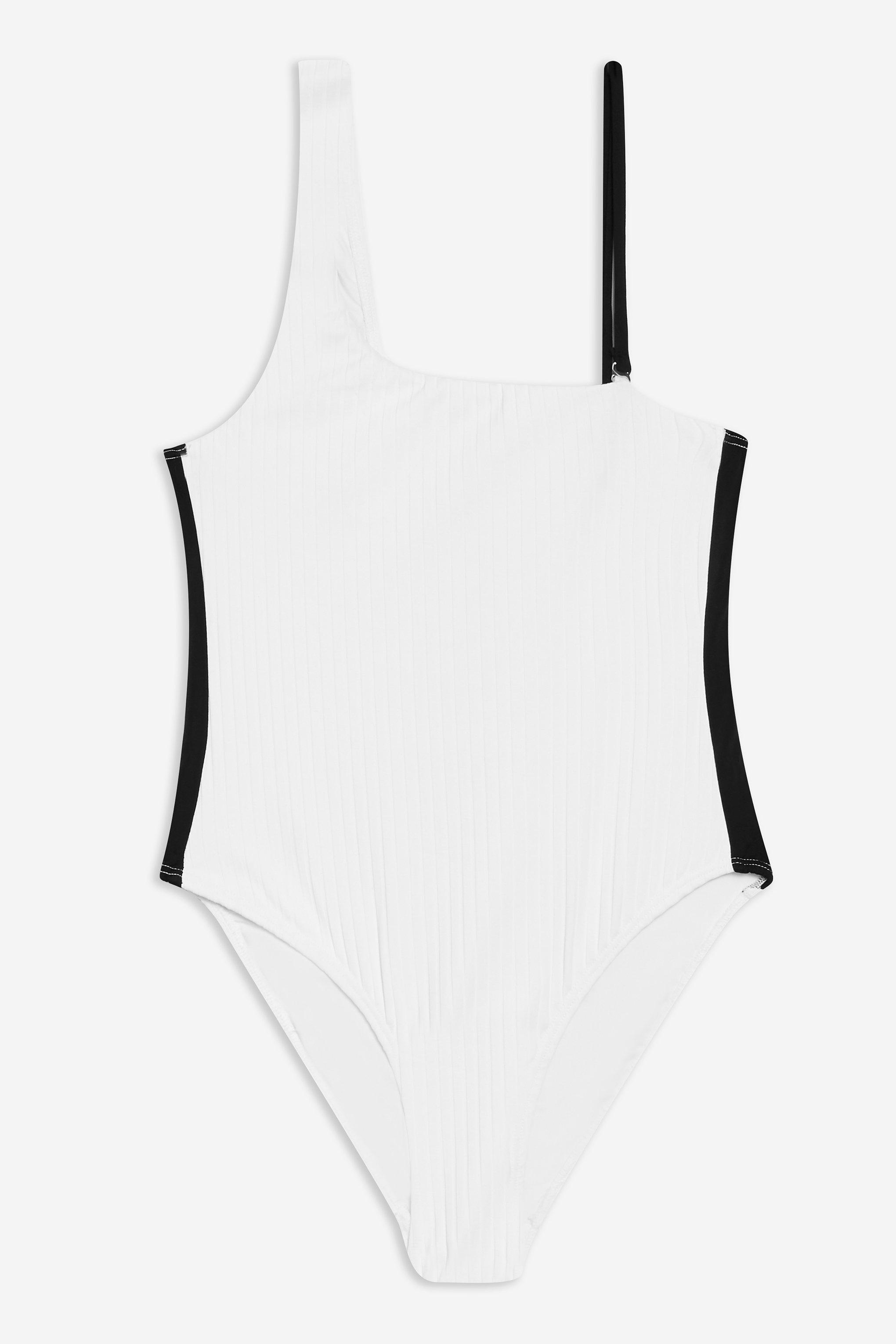 7ca3013424 Lyst - Topshop Ribbed One Shoulder One Piece in White