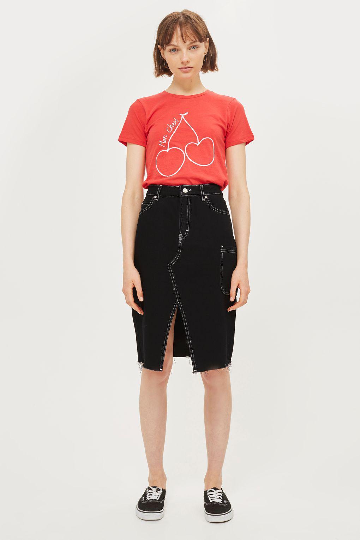 26e2d14560ca Lyst - TOPSHOP  mon Cheri  Slogan T-shirt in Red