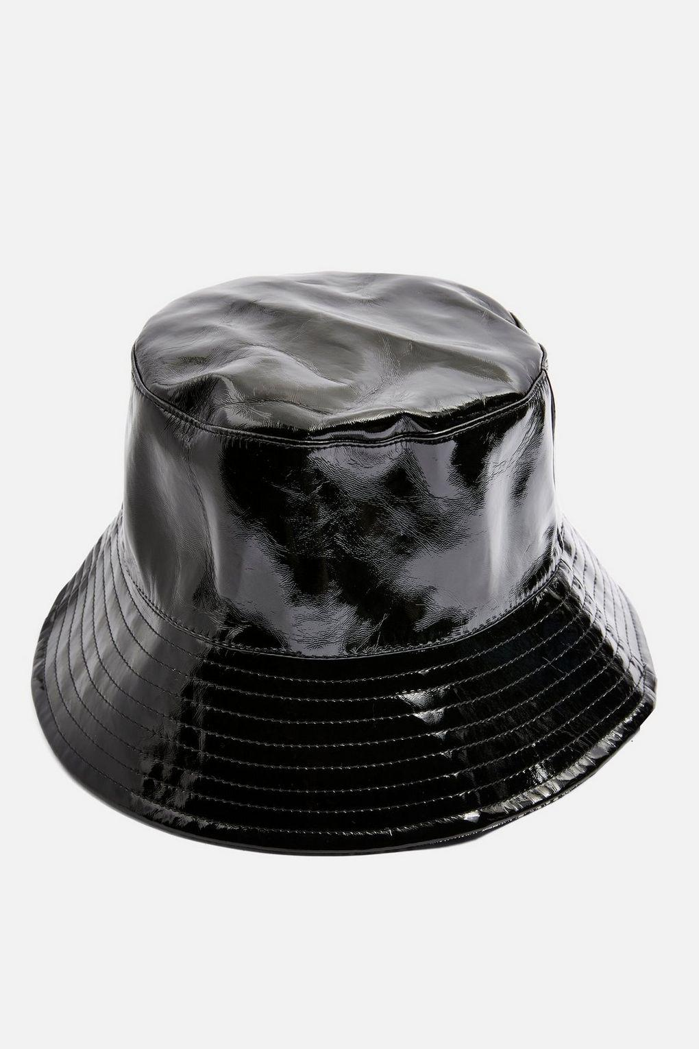 fcedb8077b5 Lyst - TOPSHOP Vinyl Check Bucket Hat in Black