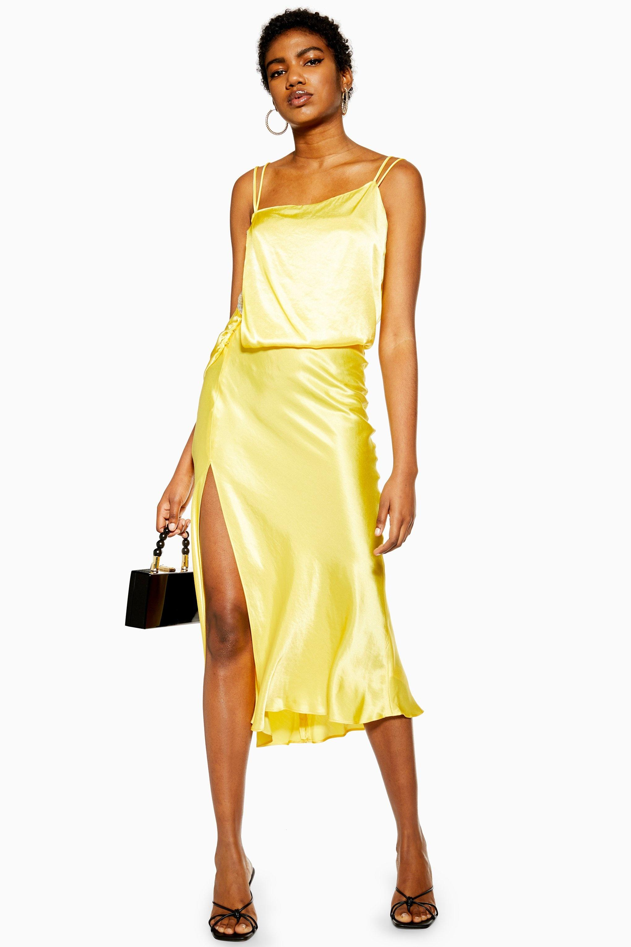 6b653a59d33 Lyst - TOPSHOP Yellow Embroidered Panel Satin Slip Dress in Yellow