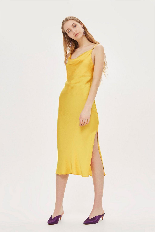 3efed8f3100ec TOPSHOP Cowl Neck Slip Dress in Yellow - Lyst