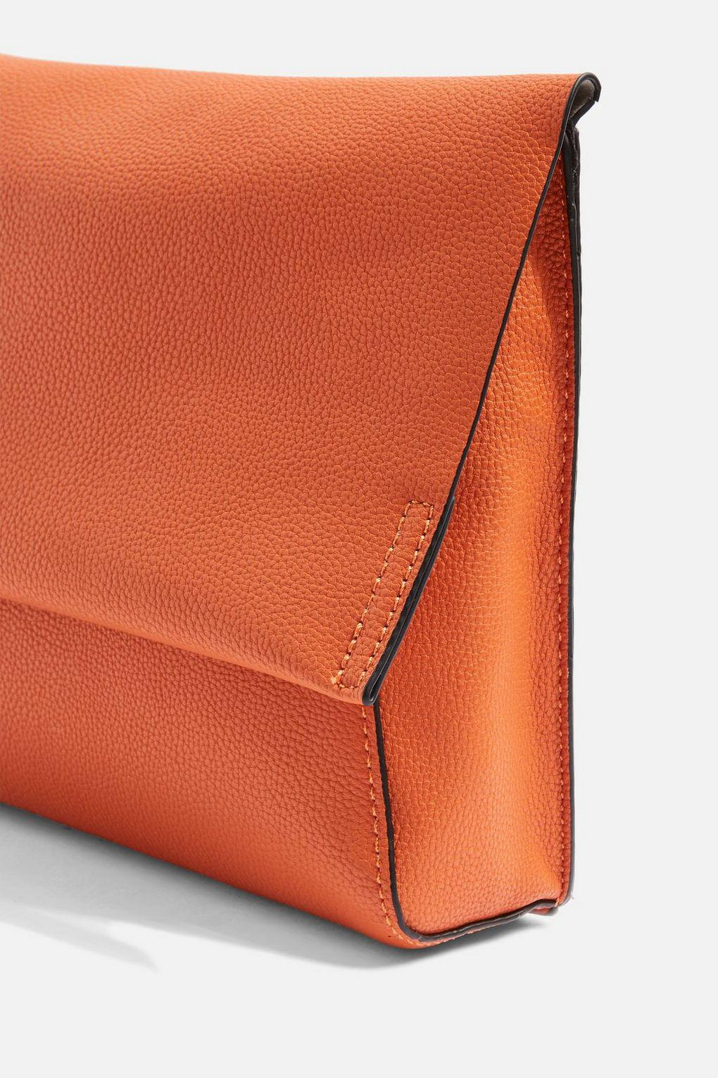 2d39a426d61 Topshop New Charlie Clutch in Orange - Lyst