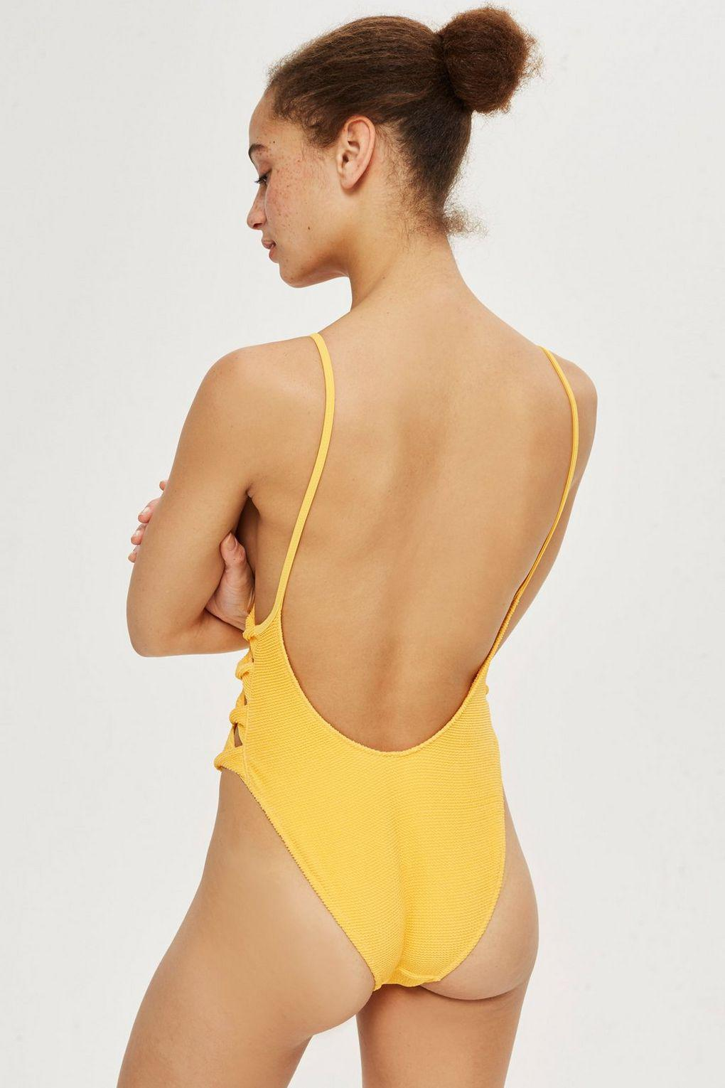 09b448b351 TOPSHOP Twist Shirred Swimsuit in Orange - Lyst