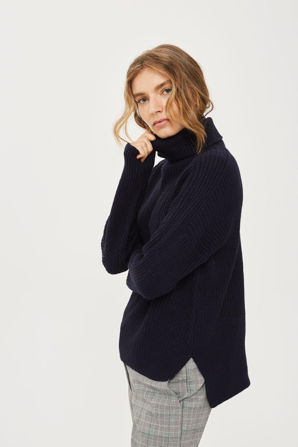 Lyst - TOPSHOP Ribbed Roll Neck Jumper in Blue f8cbff798