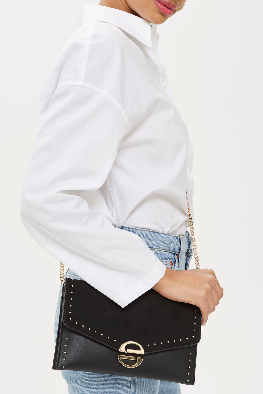 Lyst - TOPSHOP Candice Stud Clutch Bag in Black 23d5a086e2282