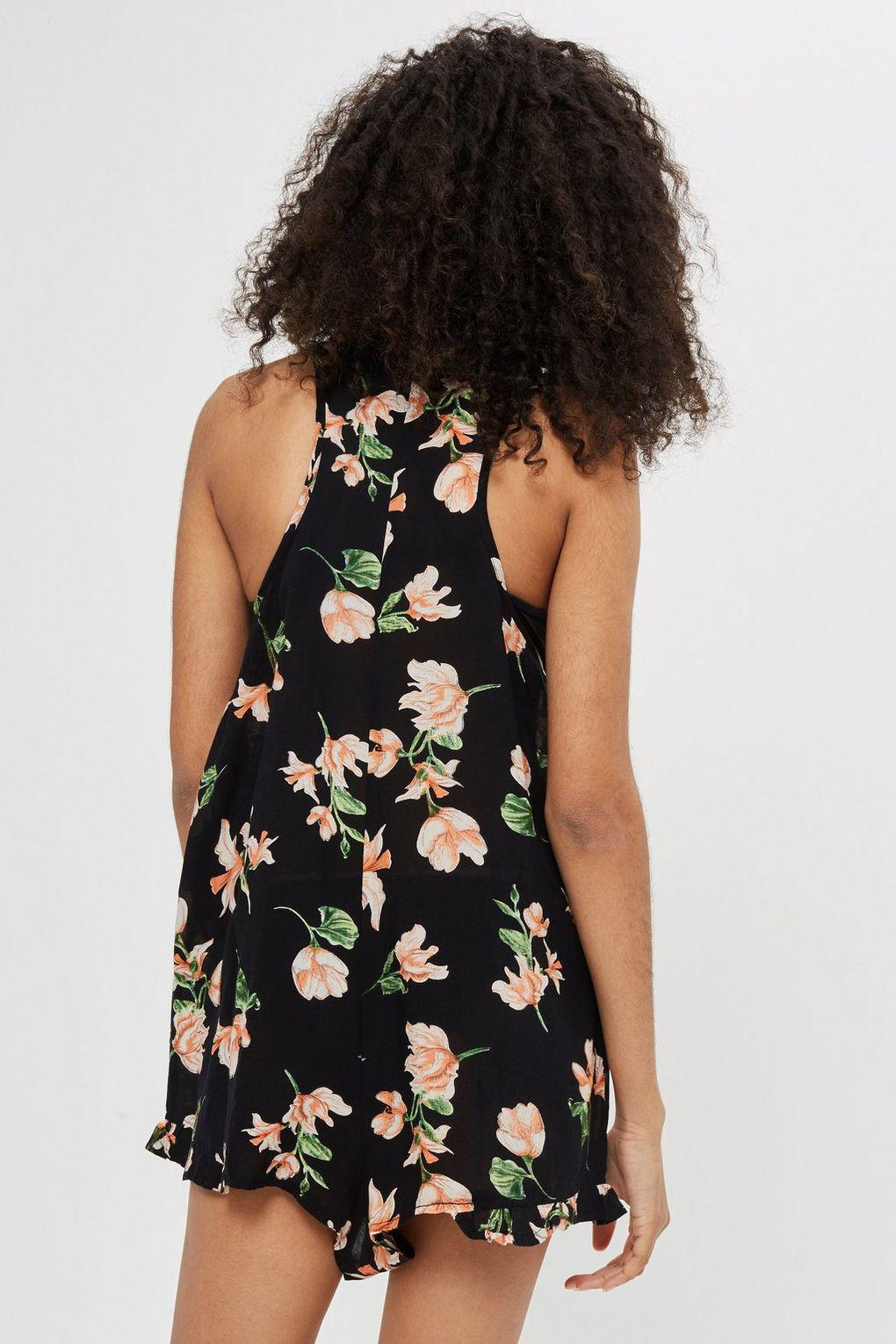 1e1826a1eb Lyst - TOPSHOP Floral Lace Up Playsuit in Black