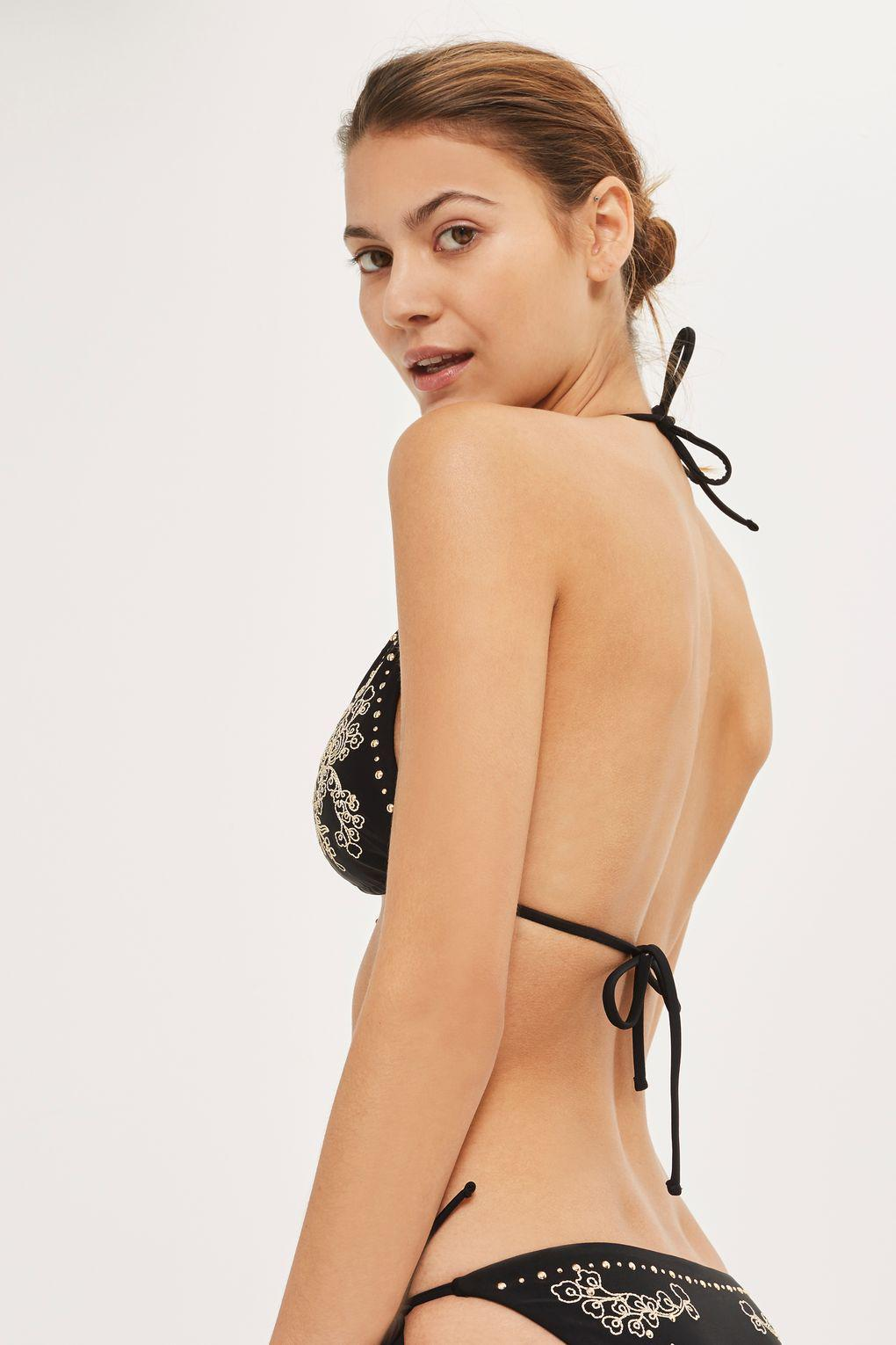 a6a26d77777 Lyst - Topshop Studded Embroidered Triangle Bikini Top in Black