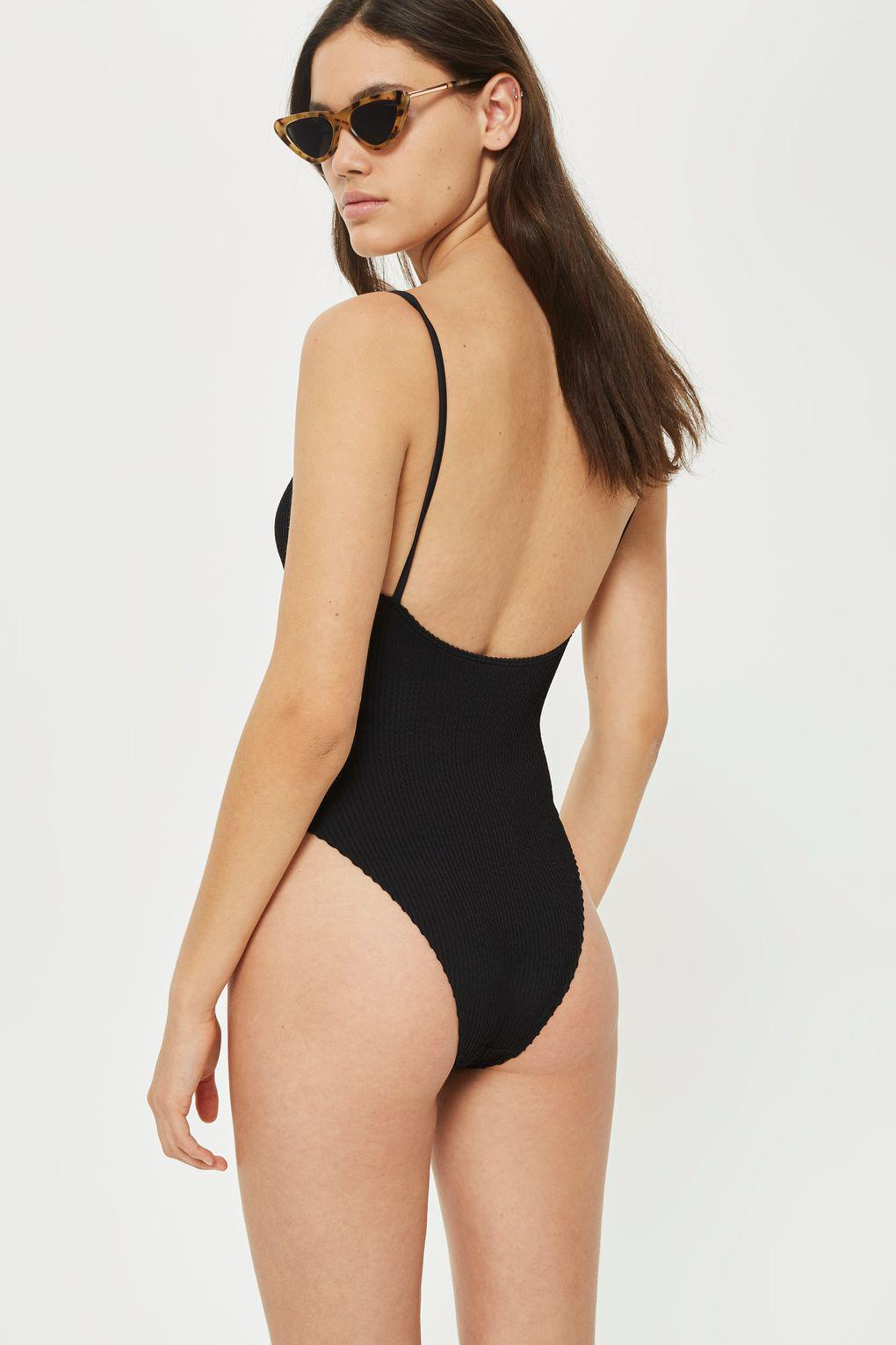 c3def7cfbc TOPSHOP Wavy Ribbed Straight Neck Swimsuit in Black - Lyst