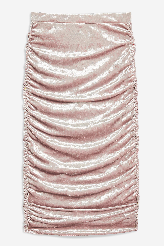 26f400626 Lyst - TOPSHOP Velvet Ruched Midi Skirt